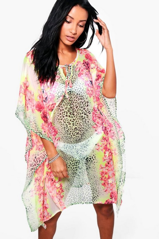 Isla Animal Floral Embellished Beach Kaftan