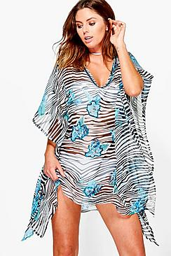 Brooke Animal Floral Mix Beach Kaftan