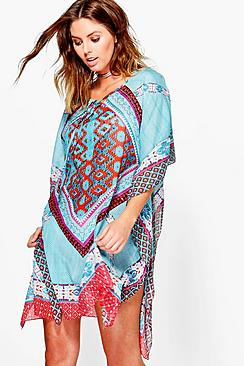 Hannah Tribal Sequin Beach Kaftan