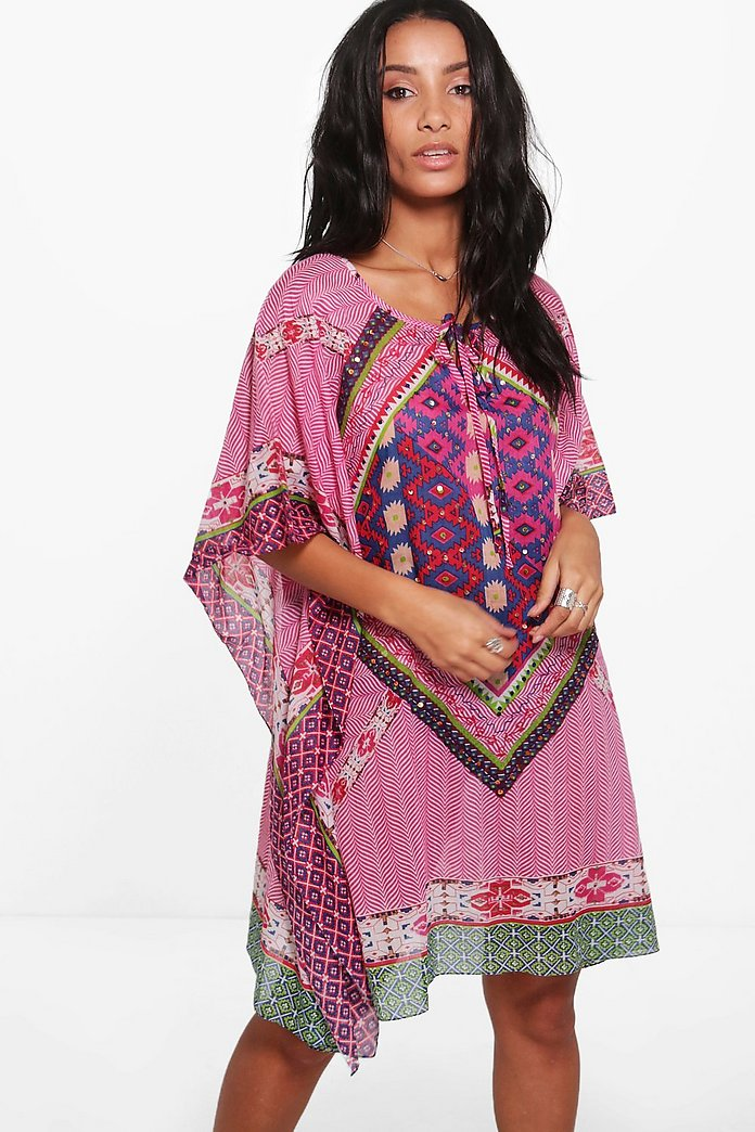 Isabella Tribal Sequin Beach Kaftan