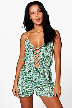 Erin Tropical Leaf Lace Up Beach Playsuit