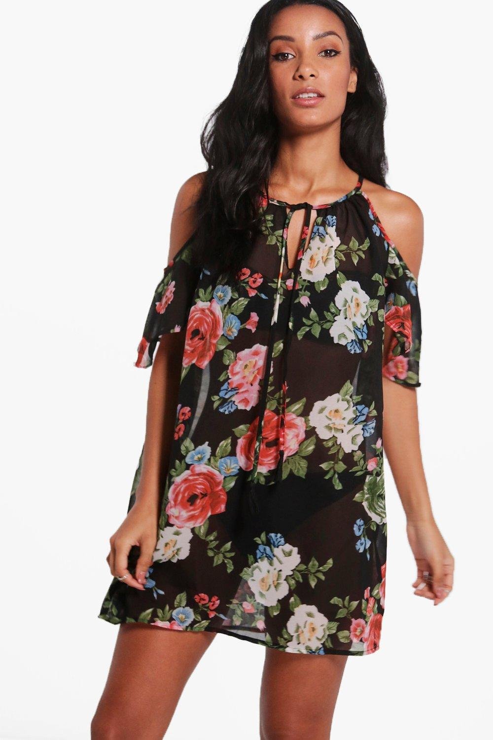 Aimee Dark Floral Cold Shoulder Beach Dress