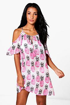 Isabelle Pineapple Cold Shoulder Beach Dress
