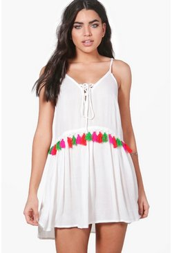 Abigail Tassel Tie Up Beach Dress