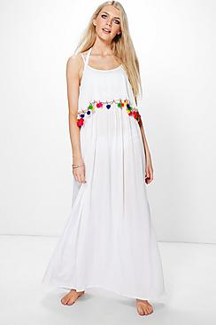 Charlotte Pom Pom Maxi Beach Dress