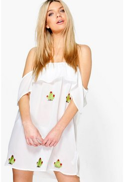 Katie Cactus Embroidered Bardot Beach Dress