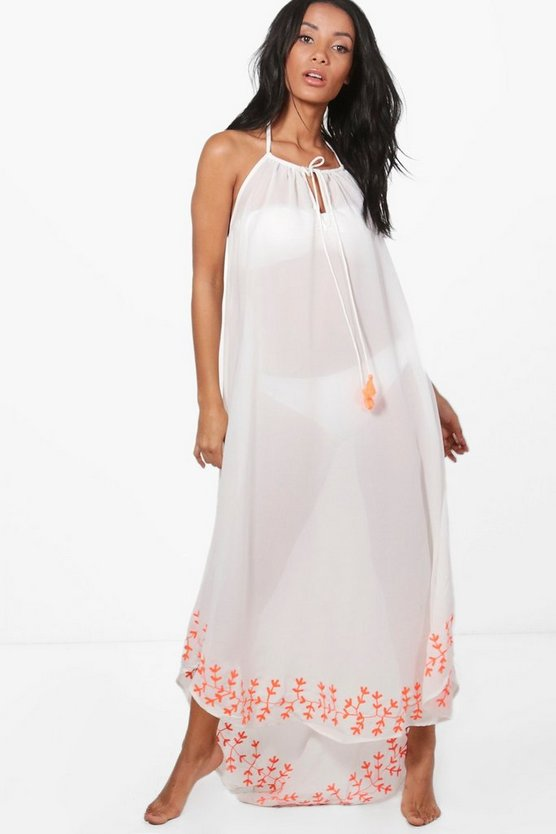 Hollie Dip Hem Embroidered Maxi Beach Dress