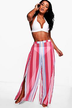 Grace Candy Stripe Split Leg Beach Trouser