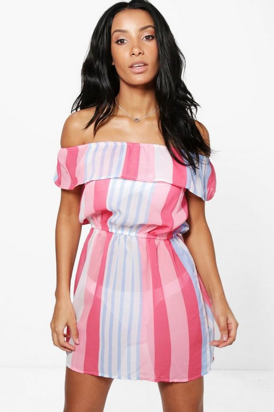 Holly Candystripe Bardot Beach Dress