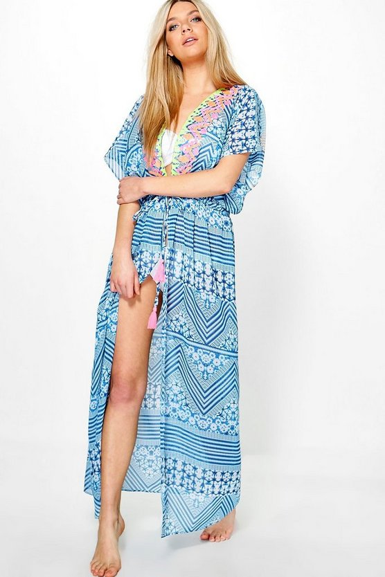 Freya Neon Embroidered Maxi Beach Kaftan