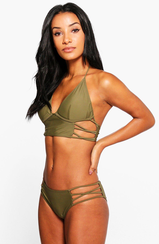 Strappy Underwired Longline Bikini  khaki