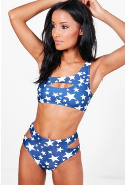 Miami Star Print One Shoulder Cut Out Bikini