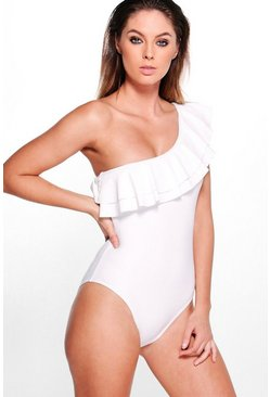 Bridal One Shoulder Frill Swimsuit