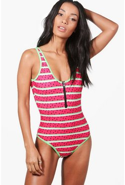 Singapore Watermelon Zip Front Swimsuit