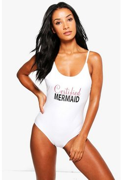 Thira Certified Mermaid Slogan Scoop Swimsuit