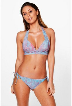 Cambodia Printed Enhanced Triangle Bikini