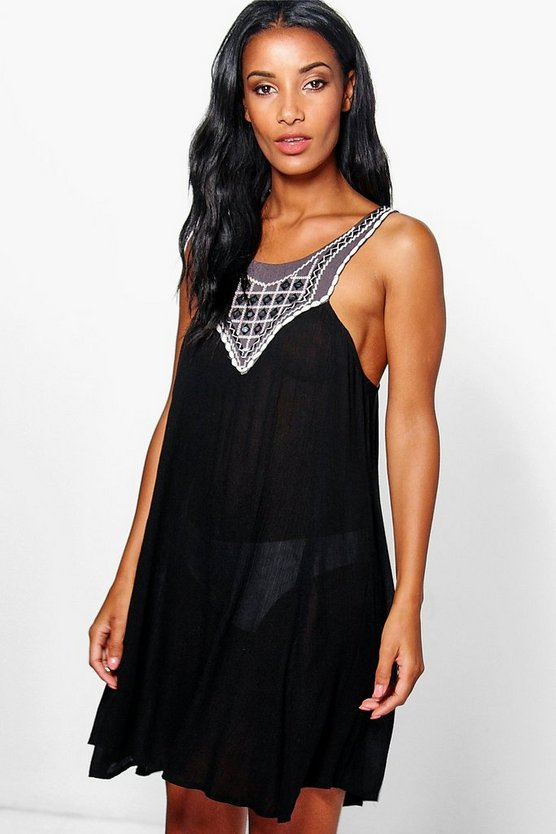 Alisha Embroidered Mirror Beach Dress