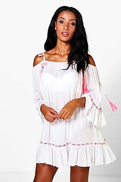 Lillie Mirror Embroidery Beach Dress
