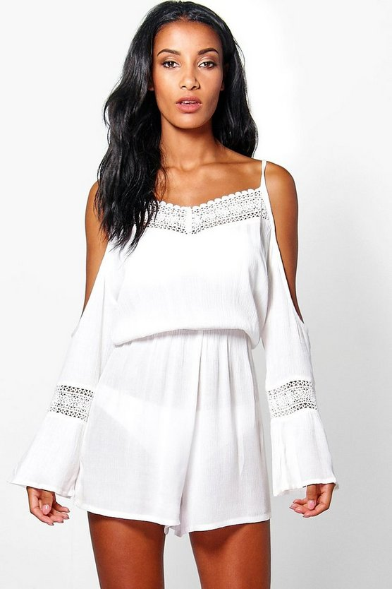 Mya Crochet Detail Cold Shoulder Beach Playsuit