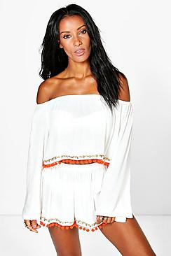 Polly Pom Pom Trim Beach Top