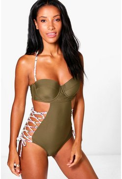 Rhodes Lace Up Underwired Swimsuit