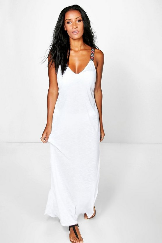 Eliza Embroidered Strap Maxi Beach Dress