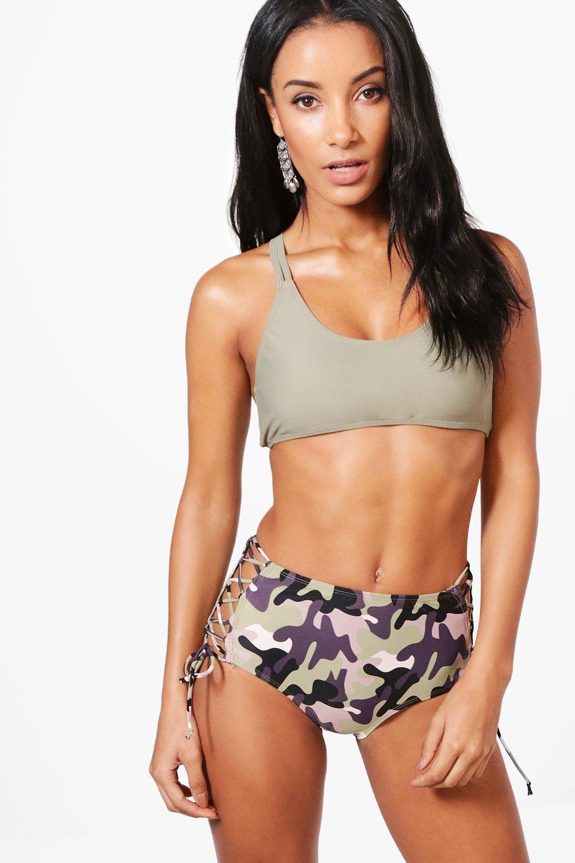 Camo Lace Up High Waist Bikini  khaki
