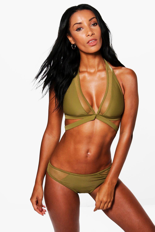 Mesh Trim Cross Strap Bikini  khaki