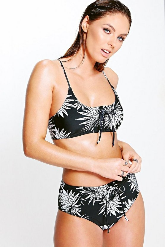 Rhodes Mono Leaf Lace Up Crop Bikini