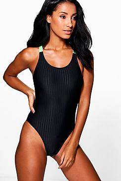 Oia FIT Jacquard Stripe Strap Swimsuit