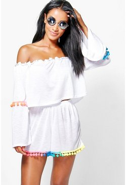 Eva Multi Coloured Pom Pom Bardot Beach Co-Ord