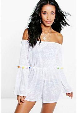 Lilly Pom Pom Bardot Beach Playsuit