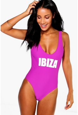 Ibiza Scoop Neck Slogan Swimsuit