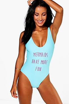 Goa Mermaid Scoop Front   Back Slogan Swimsuit