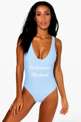 Skiathos Mermaid Scoop Back Slogan Swimsuit