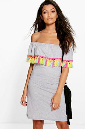 Mollie Multi Colour Tassel Off The Shoulder Dress