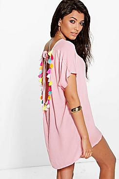 Alicia Tassel Back Woven Beach Kaftan