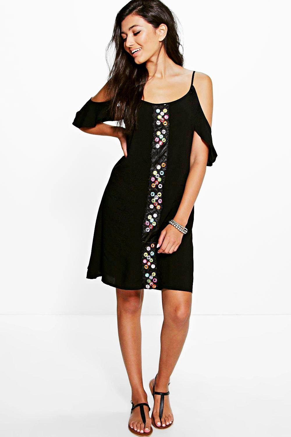 Lara Mirror Detail Cold Shoulder Beach Dress