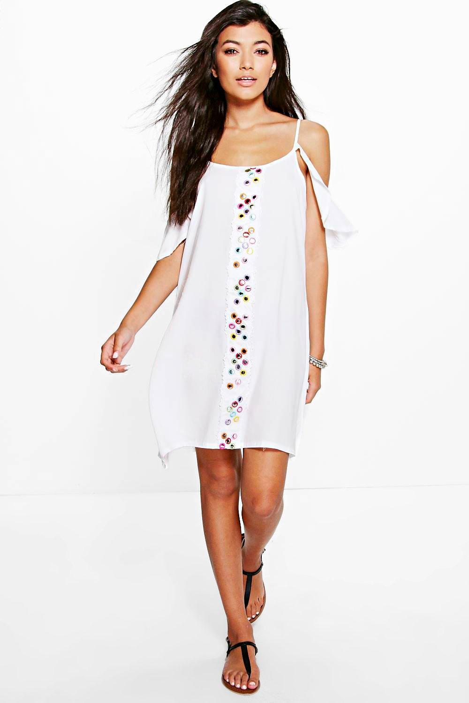 Mirror Detail Cold Shoulder Beach Dress white