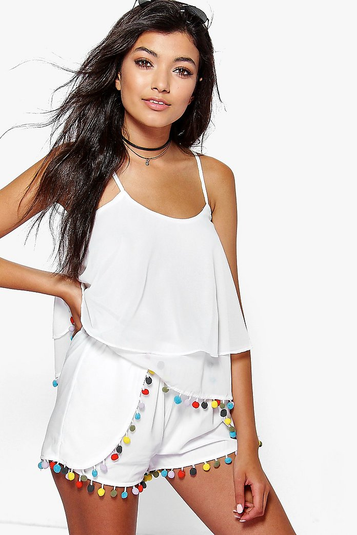 Naomi Multi Colour Pom Pom Beach Shorts