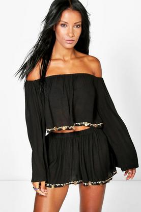 Imogen Coin Trim Bardot Beach Top