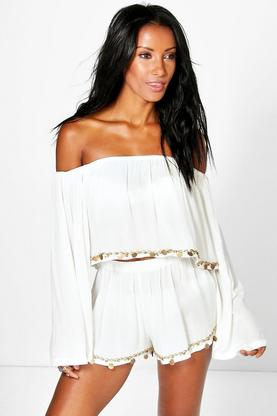 Olivia Coin Trim Bardot Beach Top