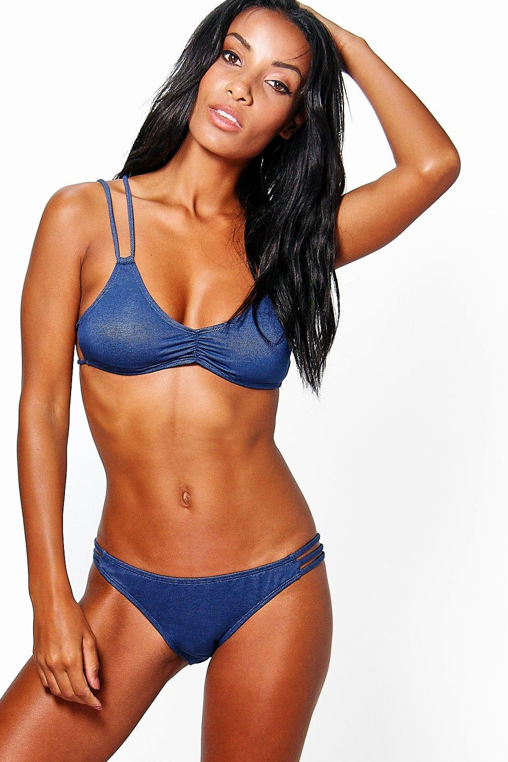 Majorca Denim Look Strap Detail Bikini
