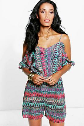 Bella Fire Leaf Cold Shoulder Playsuit