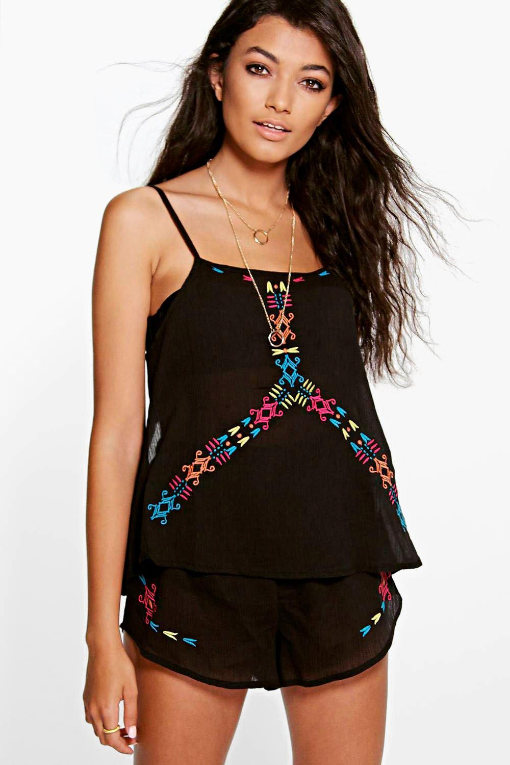 Darcey Embroidered Open Back Beach Co-Ord