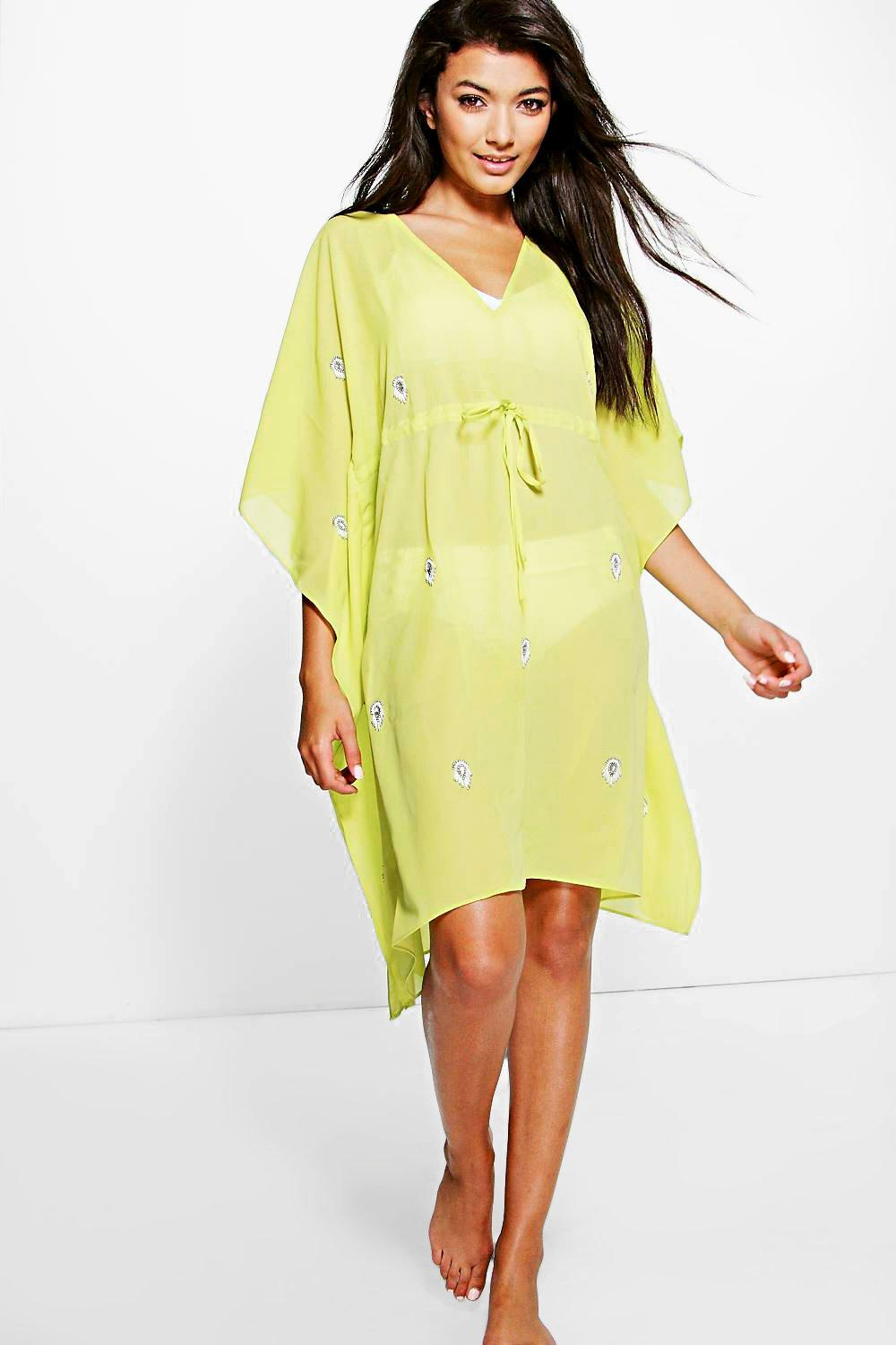 Beaded Kaftan - lime