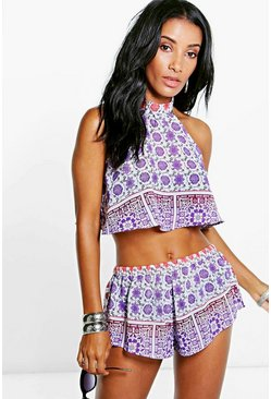 Neve Ombre Tile Print Halter Neck Co-Ord Set