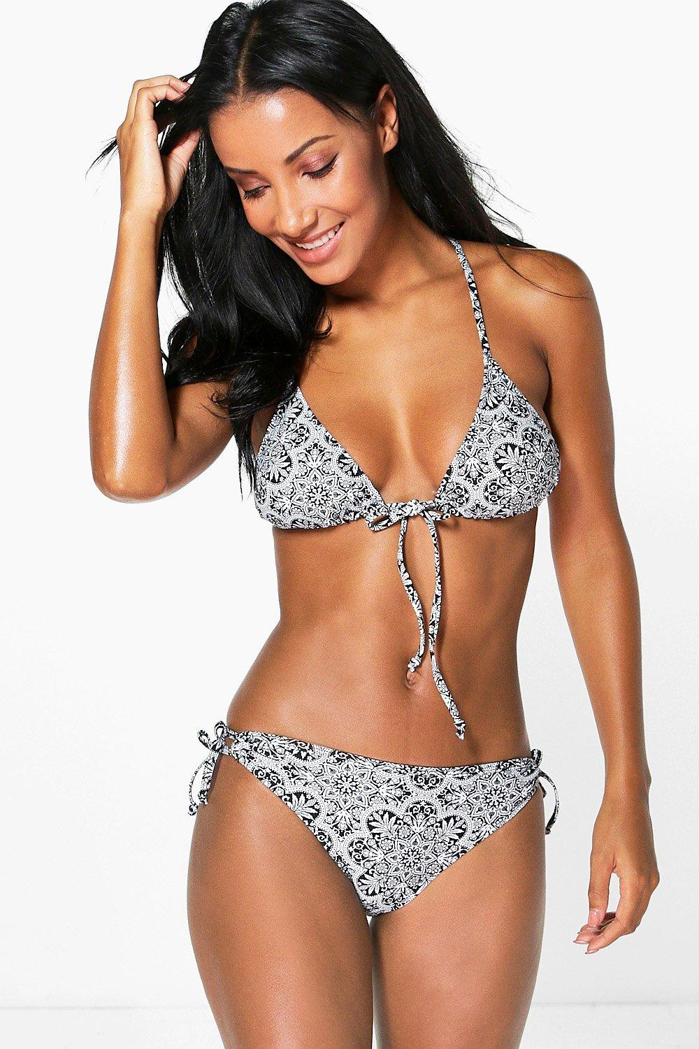 Amy Mono Paisley Caged Back Triangle Bikini
