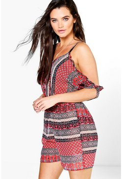 Holly Boho Print Cold Shoulder Beach Playsuit