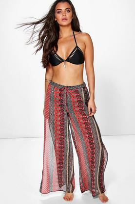 Maisie Split Side Boho Print Beach Trouser
